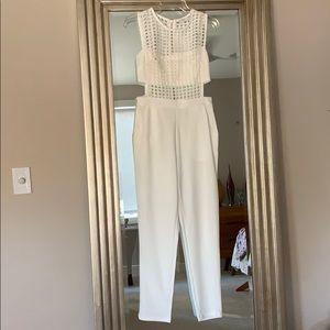 Cut out White Jumpsuit Mesh Bandeau Sexy